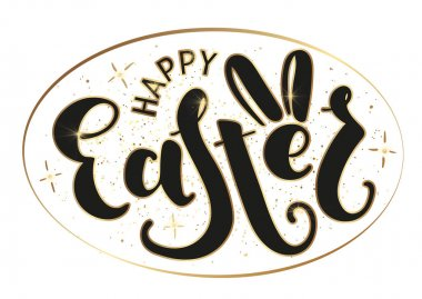 Happy Easter - lettering. Black text isolated on white background. Vector stock illustration.