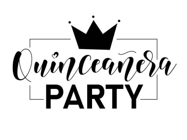 Quinceaera party lettering sign. Teenager girl birthday celebration calligraphy. Black text isolated on white background. Vector stock illustration.