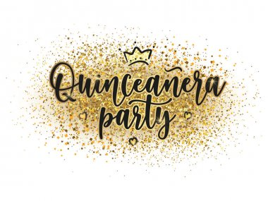 Quinceaera party lettering sign on gold background.  Teenager girl birthday celebration calligraphy with hearts. Vector stock illustration.