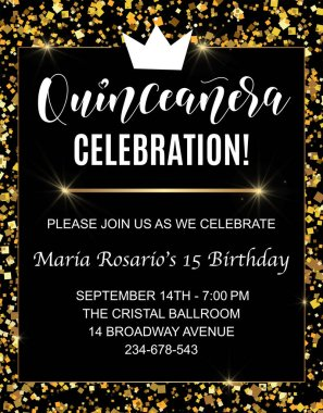 Quinceanera party flyer. Teenager girl birthday celebration calligraphy. Vector stock illustration.