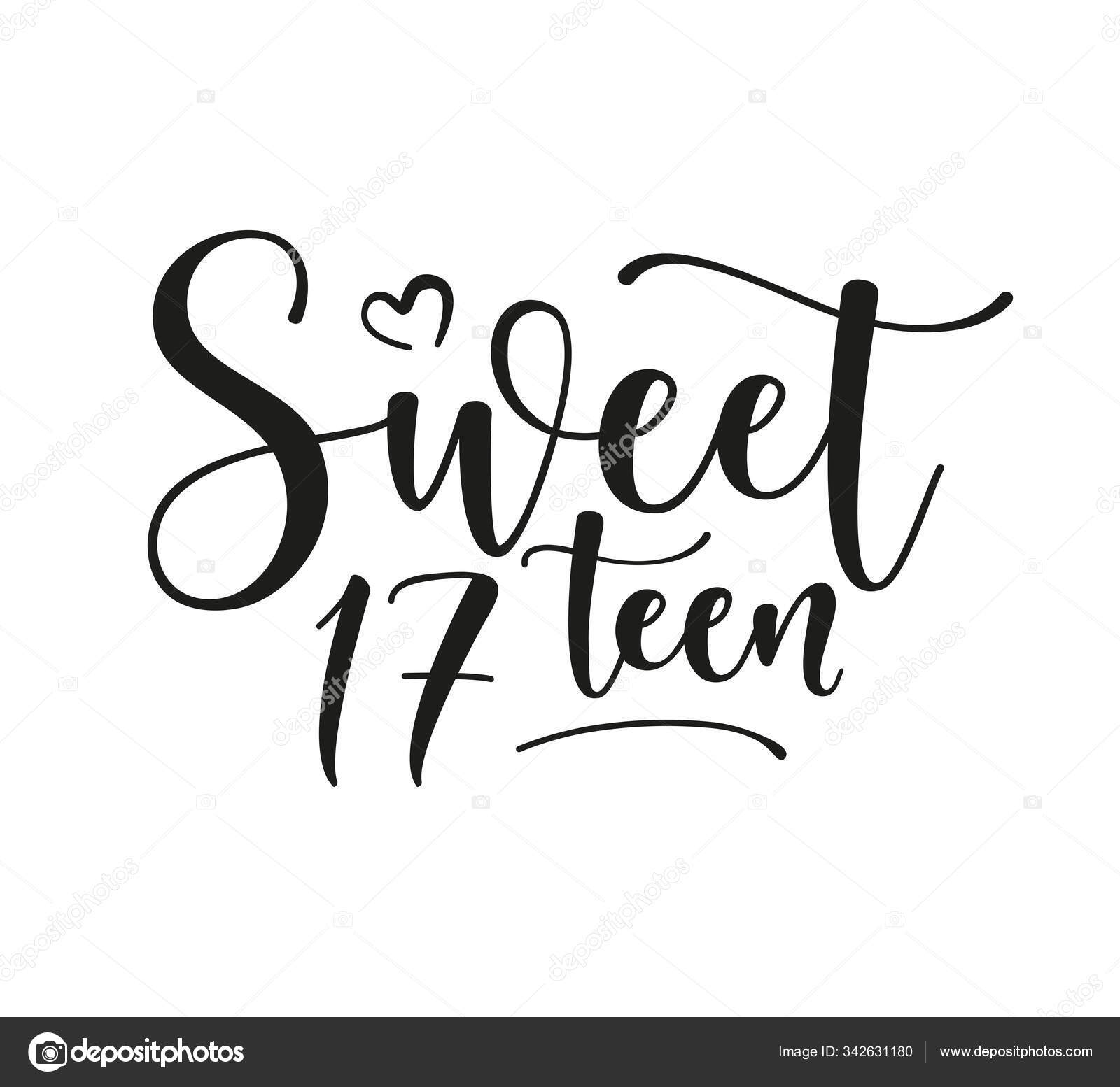sweet 17teen happy birthday lettering sign design elements postcard poster stock vector c try ly la 342631180 https depositphotos com 342631180 stock illustration sweet 17teen happy birthday lettering html