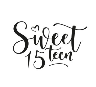 Sweet 15teen. Happy Birthday lettering sign. Design elements for postcard, poster, graphic, flyer. Simple vector brush calligraphy. Stock illustration Isolated on white background.