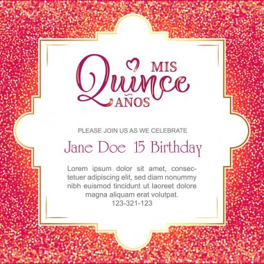 Birthday celebration flyer for Latin America girl.  Mis Quince Anos calligraphy. Vector stock illustration.