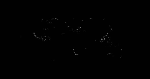 Mapa světa v řádcích 2D animace