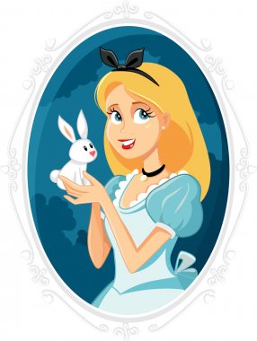 Alice in Wonderland with Little White Rabbit Vector Illustration