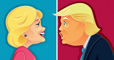 Hillary Clinton versus Donald Trump Caricature