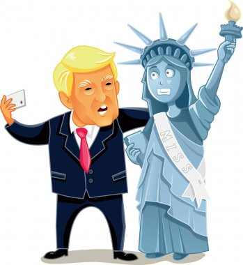 Donald Trump Taking a Selfie with the Statue of Liberty Vector Cartoon