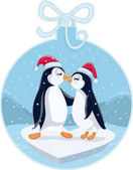 Photo Cute Christmas Penguins Kissing Vector Cartoon