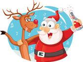 Santa Claus a jeho sobi pití a slaví Vánoce