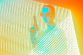 Fotografia Agente segreto con la pistola in Pop Art Light Painting effetto sfondo