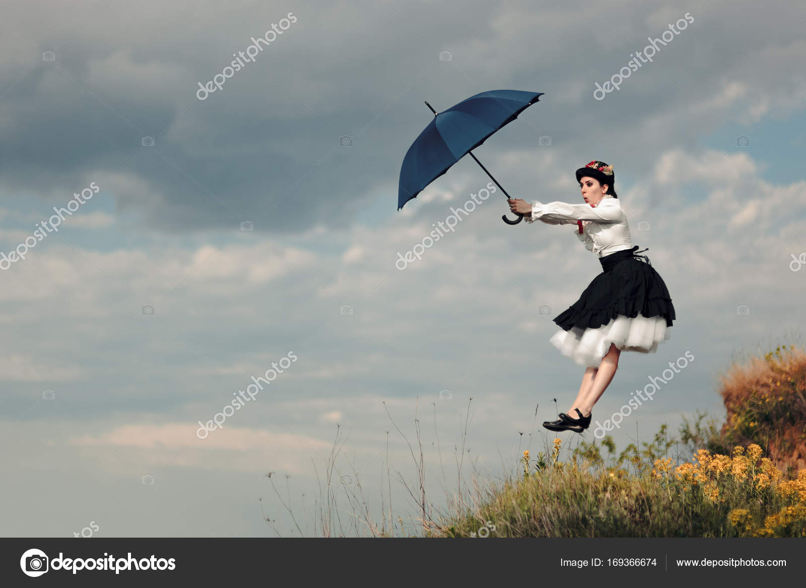 Retro Woman With Umbrella Up In The Air In Fantasy Portrait Stock