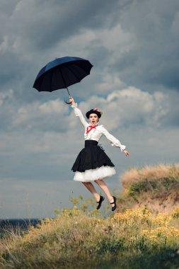 Retro Woman with Umbrella Up in The Air in Fantasy Portrait