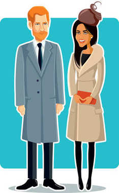 Meghan Markle and Prince Harry Vector Illustration