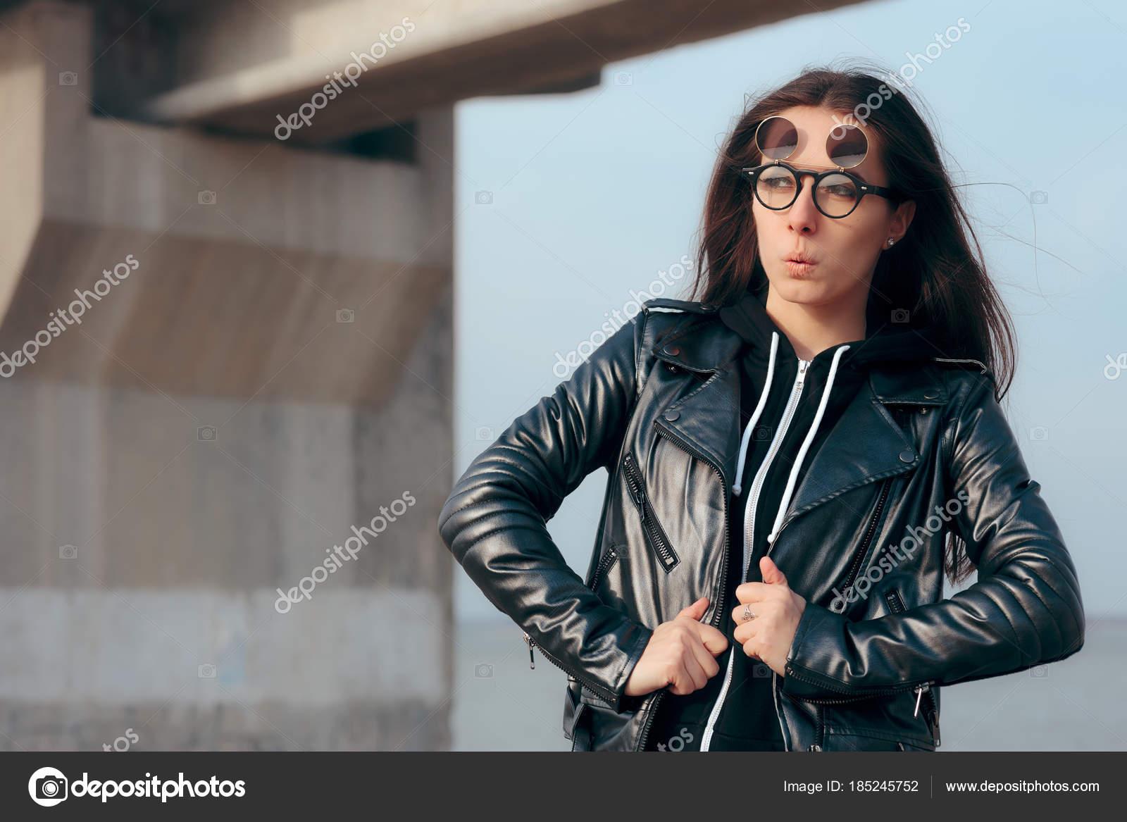 Avec Cuir Fashion Steampunk Girl Blouson Flip Lunettes 15CxgfRxwq