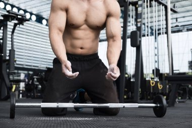 muscular man execute exercise in fitness center. male athlete pu