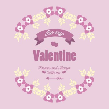 Card template happy valentine, with pink and white flower frame beautiful. Vector