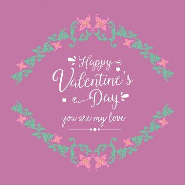 Unique leaf and flower frame design, for happy valentine greeting card decor. Vector