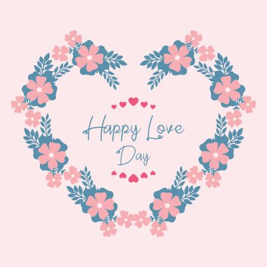 Unique pattern shape leaf and flower, for happy love day greeting card wallpaper design. Vector