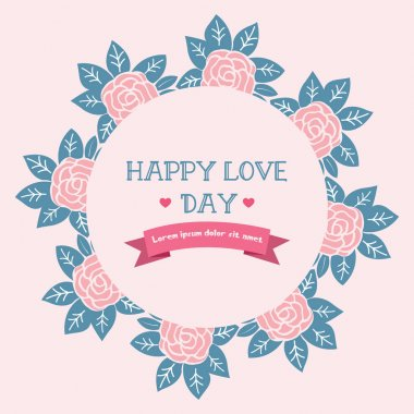 Beautiful wreath frame, for romantic happy love day greeting card template design. Vector