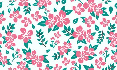 Beauty of pink rose flower pattern background for valentine, with leaf and flower concept.