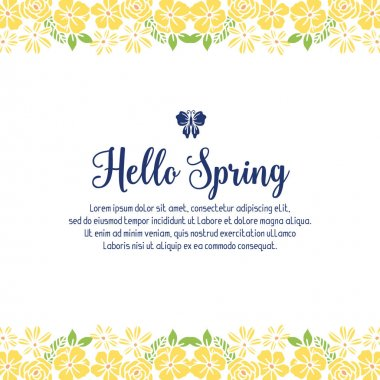 Elegant yellow wreath frame and vintage leaf pattern, for seamless hello spring invitation card design. Vector