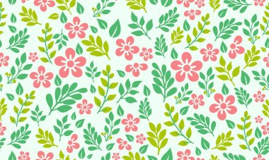 Seamless template for spring, with cute pink floral pattern background design.