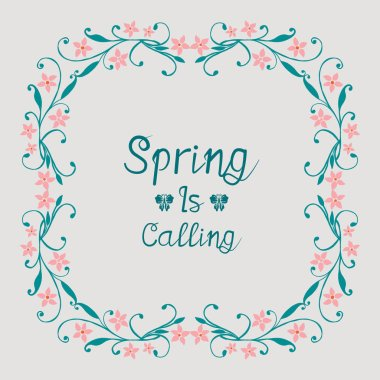 Poster design for spring calling, with unique style of leaf and floral frame. Vector