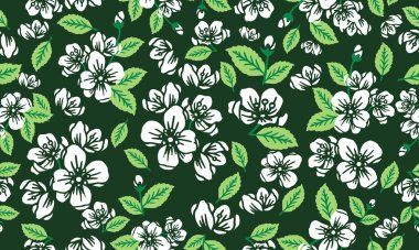 Decoration of floral spring pattern background, with leaf flower drawing seamless.