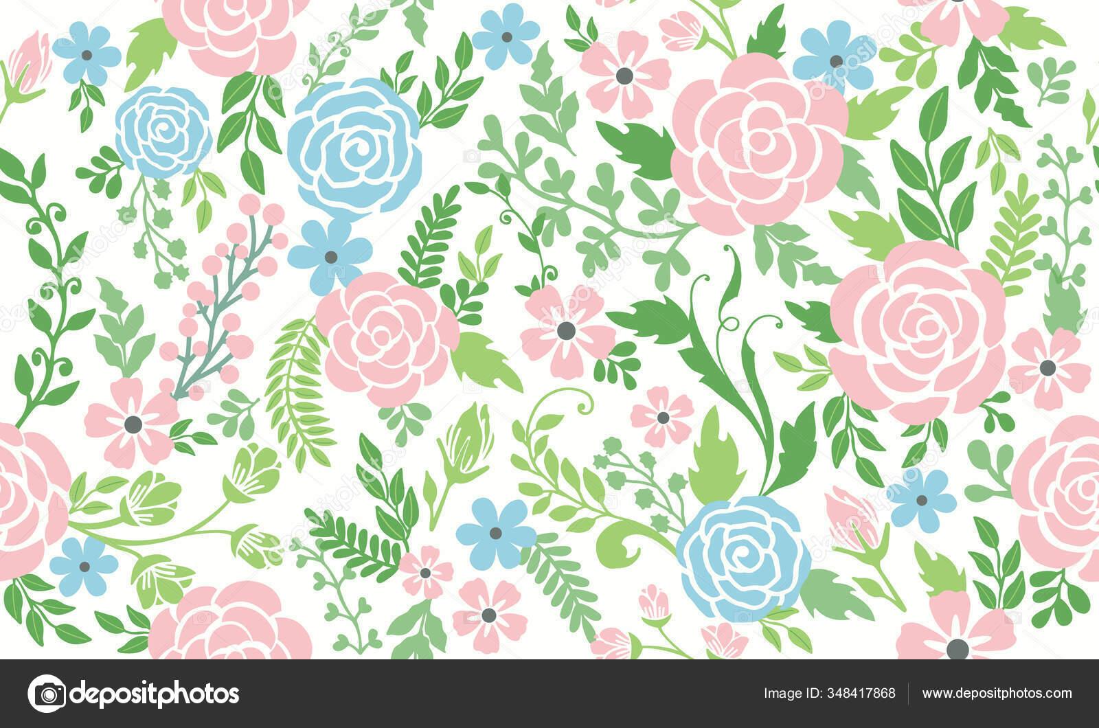 Seamless Spring Flower Leaf Floral Pattern Background Design
