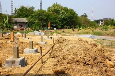 piling pile with cement reinforced with steel structure for make cement pole in new building.