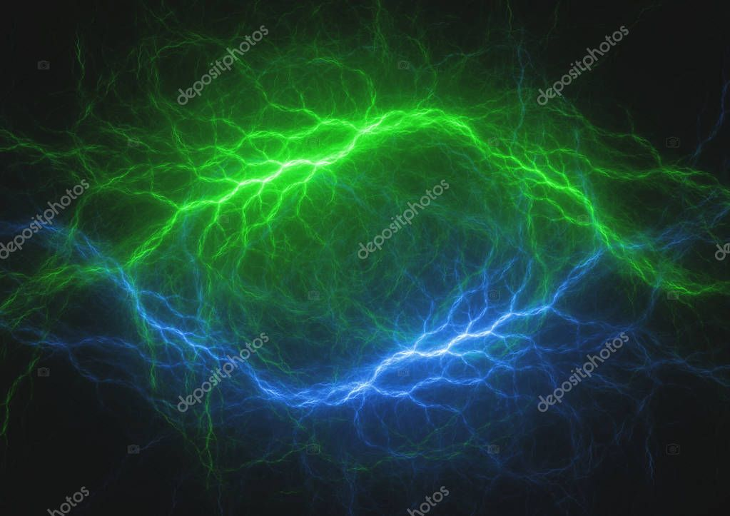 Blue and green lightning