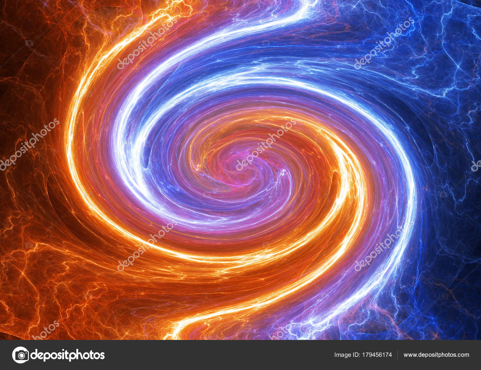 Swirling Fire Ice Plasma Lightning Abstract Electrical