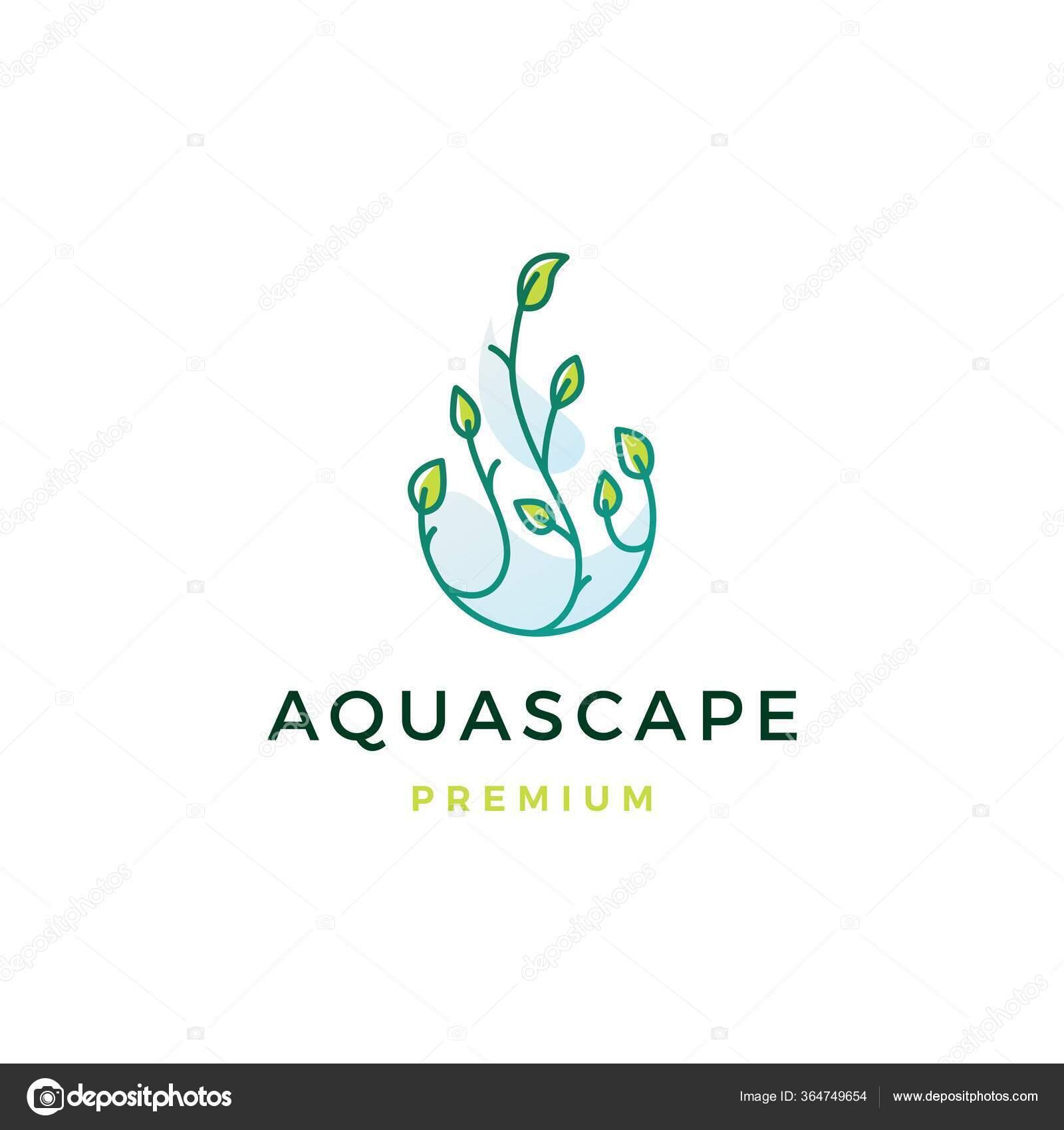 Aquascape Leaf Tree Water Drop Logo Vector Icon Illustration Stock Vector C Gagavastard 364749654
