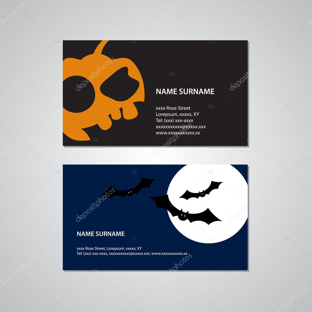 Set of two halloween business cards usa standard stock vector set of two halloween business cards usa standard stock vector colourmoves