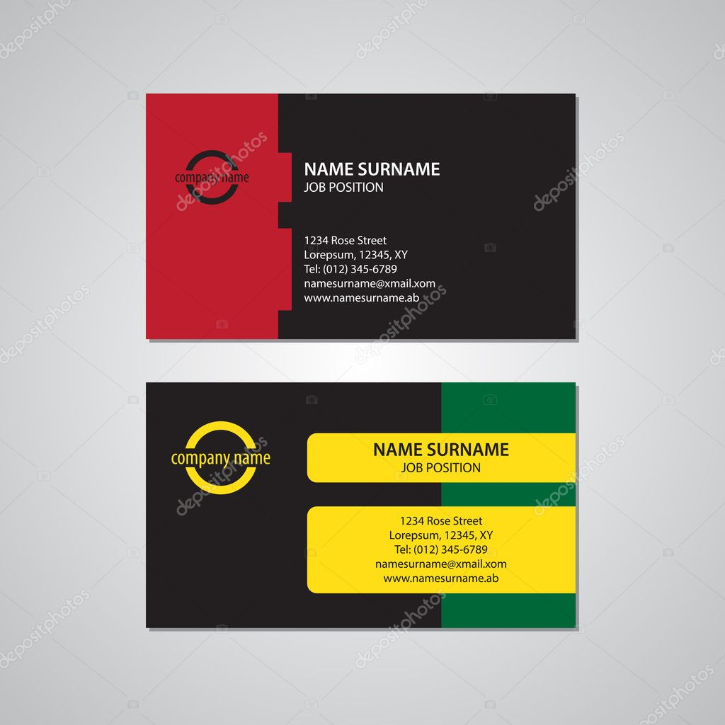 set of two colored business cards - USA standard — Stock Vector ...