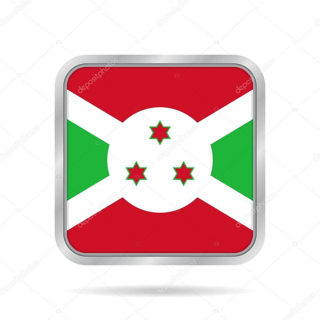 flag of Burundi, shiny metallic gray square button