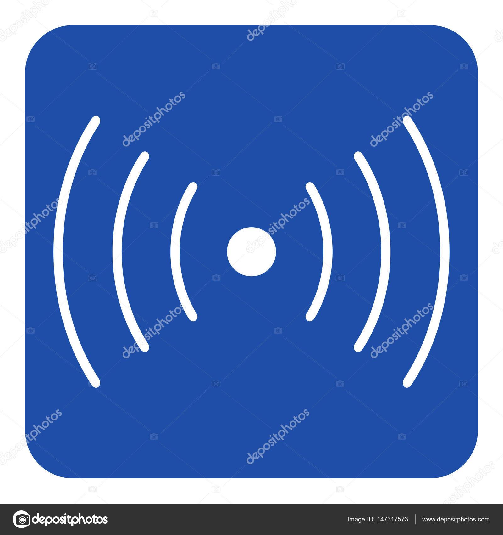 blau, weiße Zeichen - Ton, Vibration Symbol Symbol — Stockvektor ...