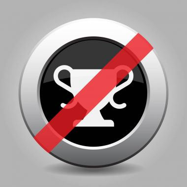 black gray button, white sports cup banned icon