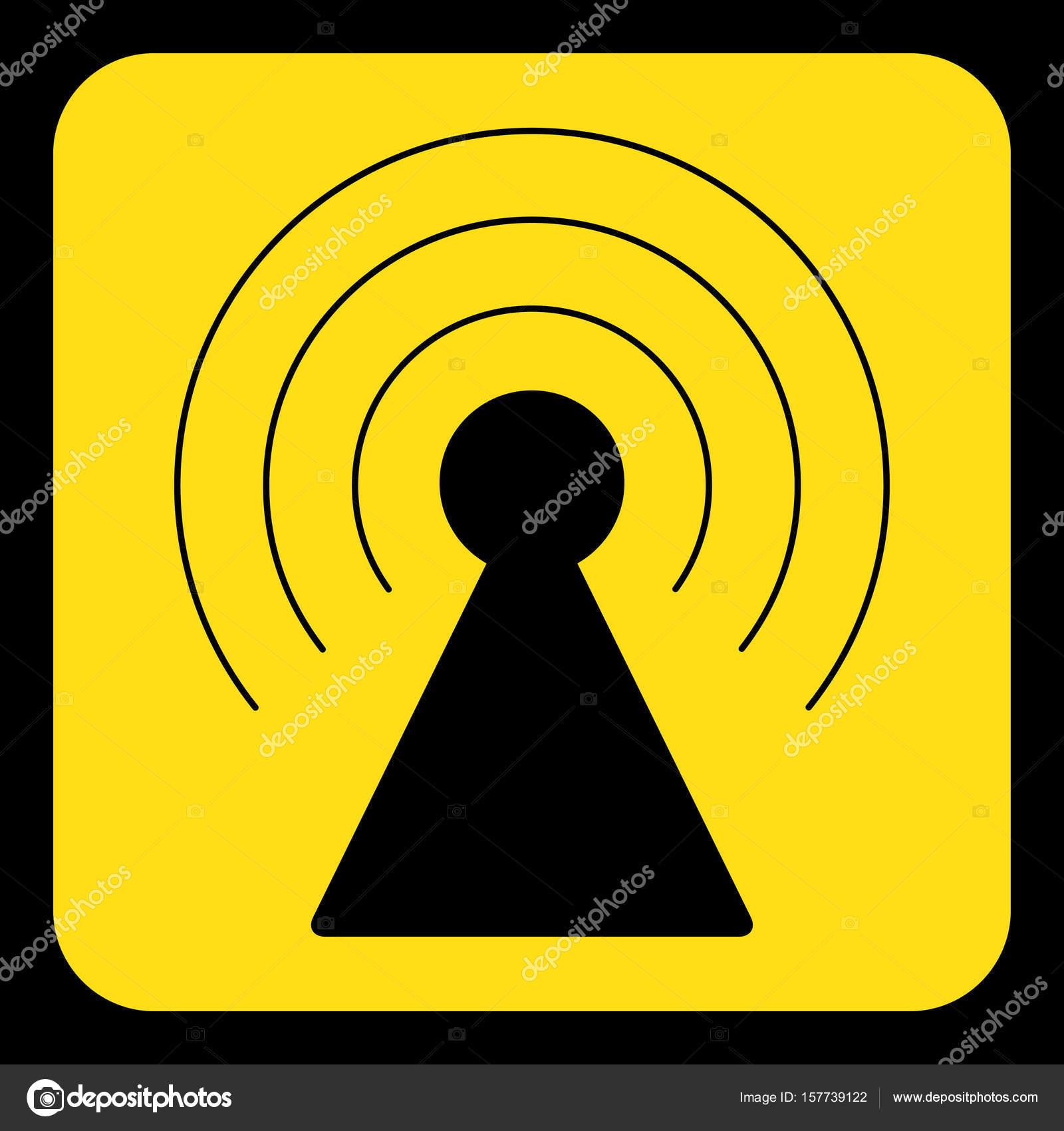 gelb, schwarze Zeichen - Sender Turm Symbol — Stockvektor © epapijon ...