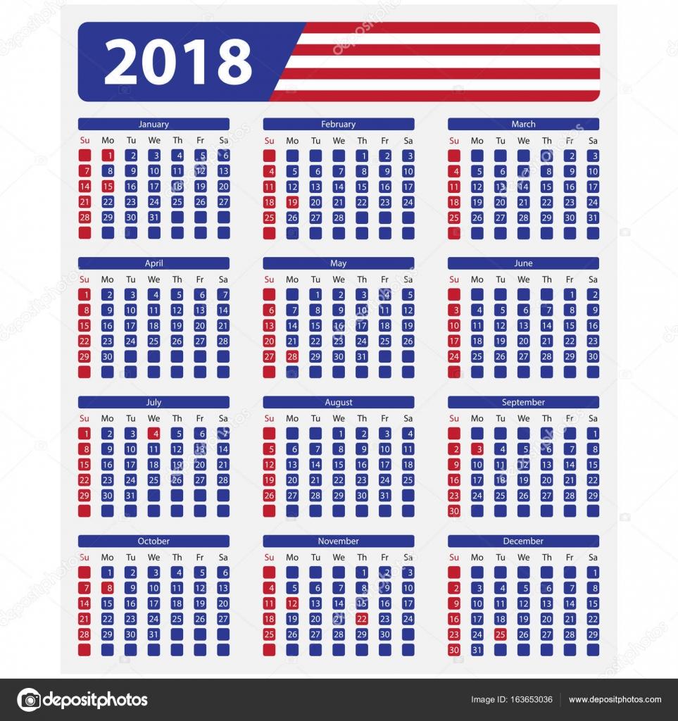 Calendario de Estados Unidos 2018, festivos — Archivo