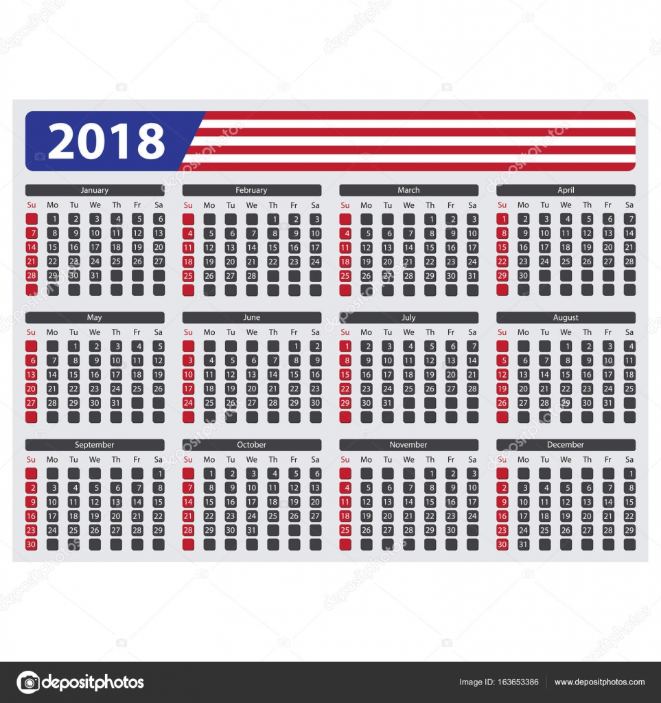 Usa Calendar 2018 Without Official Holidays Stock Vector