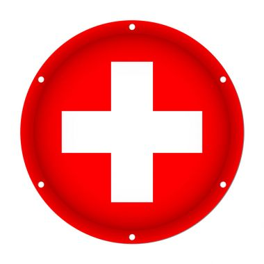 round metallic flag - Switzerland with screw holes