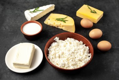 cooking, cottage cheese, camembert, maasdam cheese, eggs and milk