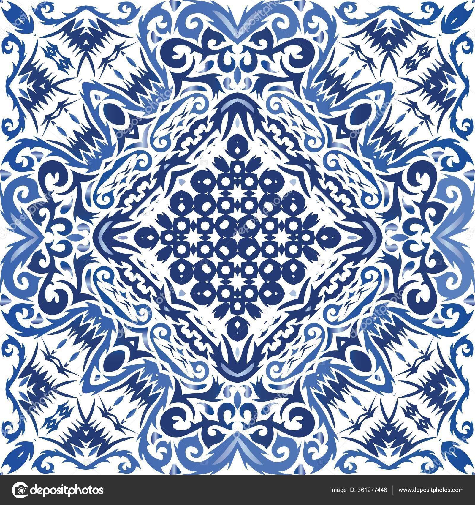 Ceramic Tiles Azulejo Portugal Kitchen Design Vector Seamless Pattern Template Stock Vector C Eduha71 Gmail Com 361277446