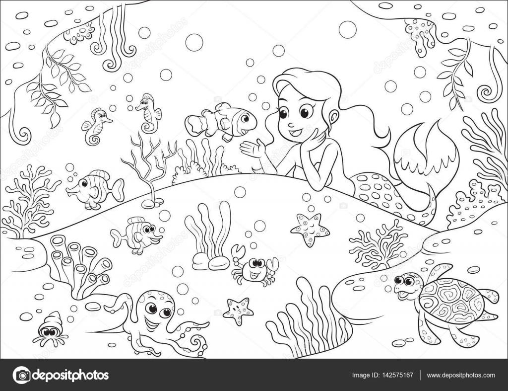 mundo subacuático de la sirena Linda de la historieta para libro de ...