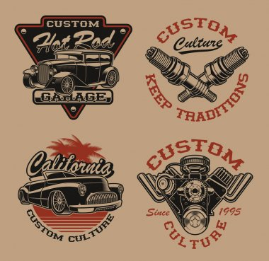 Set of vector logos in vintage style for transportation theme