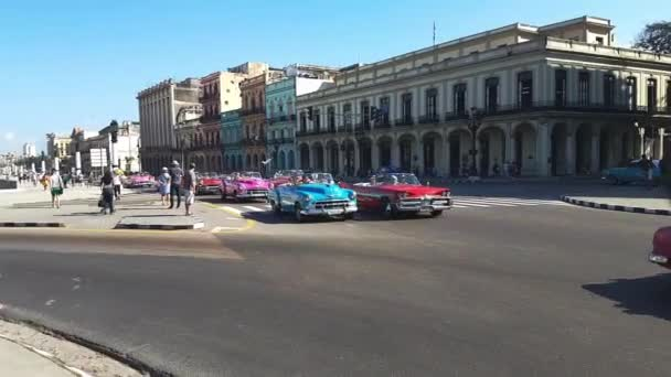 Colorful cuban cars on the way  in the center of Havana