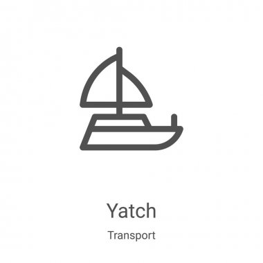 yatch icon vector from transport collection. Thin line yatch outline icon vector illustration. Linear symbol for use on web and mobile apps, logo, print media