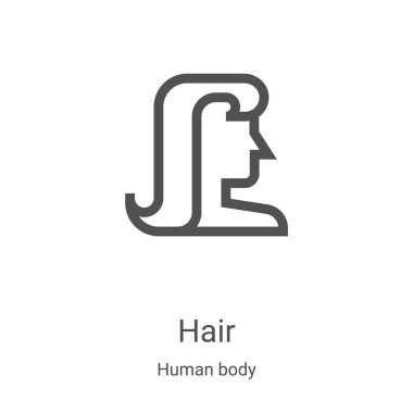 hair icon vector from human body collection. Thin line hair outline icon vector illustration. Linear symbol for use on web and mobile apps, logo, print media
