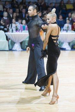 Unidentified Professional Dance Couple Performs Adults Latin-American Program on WDSF Minsk Open Dance Festival-2017